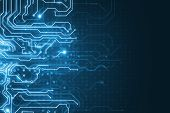 Abstract Glowing Blue Circuit Wallpaper. Chip, Computing, Hardware And Technology Concept. 3d Render poster