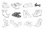 Vector Illustration Of Set Hand Drawn Graphic Men And Women Footwear, Shoes. Casual And Sport Style, poster