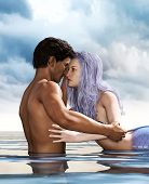 A Sea Love Story Between Man And A Mermaid,3d Fantasy Mermaid In Mythical Sea,fantasy Fairy Tale Of  poster