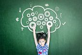 School Girl Kid Student With Cloud Computing Mind, Smart Brain Imagination Doodle On Chalkboard For  poster