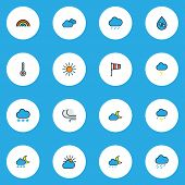 Climate Icons Colored Line Set With Sunlight, Weather After Rain, Moonbeam And Other Freeze Elements poster