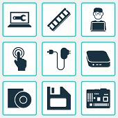 Device Icons Set With Man With Laptop, Floppy Disk, Computer Repair And Other Plug Elements. Isolate poster