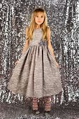 Look, Hairdresser, Makeup. Child Girl In Stylish Glamour Dress, Elegance. Fashion Model On Silver Ba poster