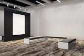 Contemporary Exhibition Hall With Empty Billboard And Bench. Gallery, Art, Exhibit And Museum Concep poster