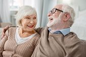 Elderly Couple. Cheerful Elderly Man Sitting Together With His Wife While Hugging Her poster