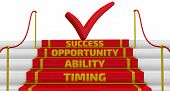 Timing, Ability, Opportunity, Success. Business Strategy: Timing, Abiblity, Opportunity, Success. St poster