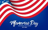 Memorial Day. Usa Memorial Day Banner With Lettering And Waving Flag Of Usa. poster