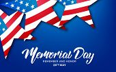 Memorial Day. Usa Memorial Day Card With Lettering And Stars Of Usa Flag. poster