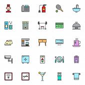 Hotel Filled Outline Icons Set, Line Vector Symbol Collection, Linear Colorful Pictogram Pack. Signs poster