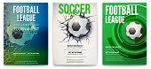 Set Of Posters Of Football Tournament Or Soccer League. Graphics Design With Ball. Design Of Banner  poster