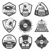 Vintage Monochrome Gramophone Labels Set With Inscriptions Turntable Vinyl Records Phonograph Microp poster