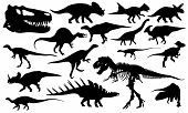 stock photo of dinosaur skeleton  - black dinosaur silhouettes isolated on white collage - JPG