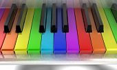 foto of rainbow piano  - The white piano with keys of different colours of a rainbow - JPG