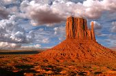 Peaks of rock formations in the Navajo Park of Monument Valley Utah known as The Mittens poster