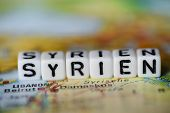 German Word Syrien Formed By Alphabet Blocks On Atlas Map Geography poster