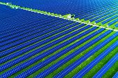 Solar Energy Farm. High Angle View Of Solar Panels On An Energy Farm. poster