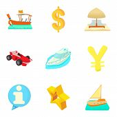 Monetary Opportunity Icons Set. Cartoon Set Of 9 Monetary Opportunity Vector Icons For Web Isolated  poster