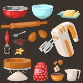Baking Pastry Prepare Cooking Ingredients Kitchen Utensils Homemade Food Preparation Baker Vector Il poster