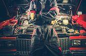 Retro Car Mechanic Theme. Men And His Restored American Classic Car. poster