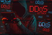 Distributed Denial Of Service Or Ddos Attack Concept With Faceless Hooded Male Person Using Tablet C poster