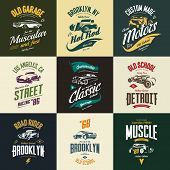 Vintage Muscle, Roadster, Hot Rod And Classic Car Vector T-shirt Logo Isolated Set. Premium Quality  poster