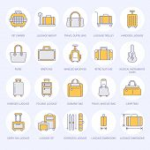 Luggage Flat Line Icons. Carry-on, Hardside Suitcases, Wheeled Bags, Pet Carrier, Travel Backpack. B poster