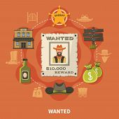 Wanted Person, Bearded Cowboy, Round Composition With Sheriffs Badge, Money Bags, Alcohol On Terraco poster