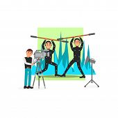 Movie Operator And Actors, Entertainment Industry, Movie Making Vector Illustration, Web Design poster