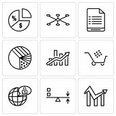 Set Of 9 Simple Editable Icons Such As Chart, Sun Flare, Global User, Cart Graphic, Bars Chart, Pie  poster