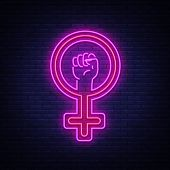 Female Gender Symbol Neon Sign Vector. Feminism Night Light Symbol, Icon. Feminist Protest Symbol In poster