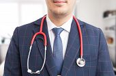 Close-up Of Hospital Manager Stethoscope. poster