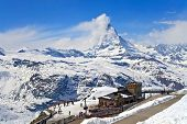 stock photo of pubic  - Gornergrat pubic Train Station and Matterhorn peak located at Switzerland - JPG