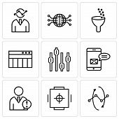 Set Of 9 Simple Editable Icons Such As Data Analytics Interface Circles, Safe Box, Data Analytics, D poster