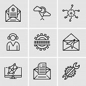 Set Of 9 Simple Editable Icons Such As Settings, Email, Hologram, Mail, Binary Code, Support, Analyt poster