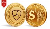 Nem. Dollar Coin. 3d Isometric Physical Coins. Digital Currency. Cryptocurrency. Golden Coins With N poster