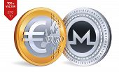Monero. Euro Coin. 3d Isometric Physical Coins. Digital Currency. Cryptocurrency. Golden And Silver  poster