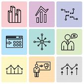 Set Of 9 Simple Editable Icons Such As Decreasing Chart, Person Explaining Data, Increasing Bars, Us poster