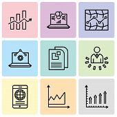 Set Of 9 Simple Editable Icons Such As Mobile Phone Text Data, Data Graphic, Mobile Phone Globally C poster
