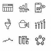 Set Of 9 Simple Editable Icons Such As Data Interconnected, 3d Data Analytics Bars, Missing Data On  poster