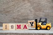Toy Forklift Hold Block Y To Complete Word 19 May On Wood Background (concept For Calendar Date For  poster