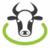 Cow Area Halftone Vector Icon. Illustration Style Is Dotted Iconic Cow Area Icon Symbol On A White B poster