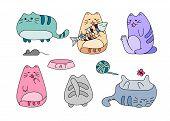 Vector Image With Funny Hand Drawn Cats. Animals Vector Illustration With Adorable Color Kitties. poster
