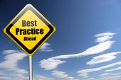 stock photo of  practices  - best practice sign on blue sky background illustration - JPG