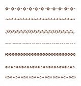 Set Vector Dividers Isolated On White Background. Geometric Horizontal Vintage Line Border. Collecti poster