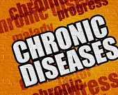 Modern Medical Concept: Chronic Diseases - On The Brickwall With Wordcloud Around . Chronic Diseases poster