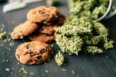 Cookies With Cannabis And Buds Of Marijuana On The Table. Copy Spaceconcept Of Cooking With Cannabis poster