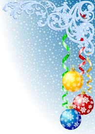 stock photo of christmas ornament  - Christmas background with christmas balls konfetti and snowflakes - JPG