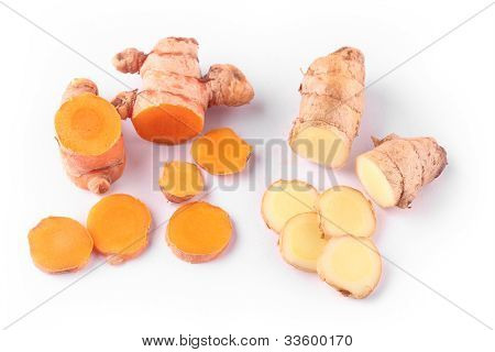 Fresh And Organic Ginger And Turmeric Roots