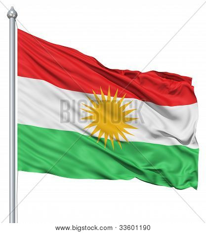 Waving flag of Kurdistan