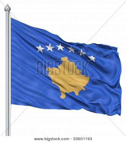 Waving flag of Kosovo